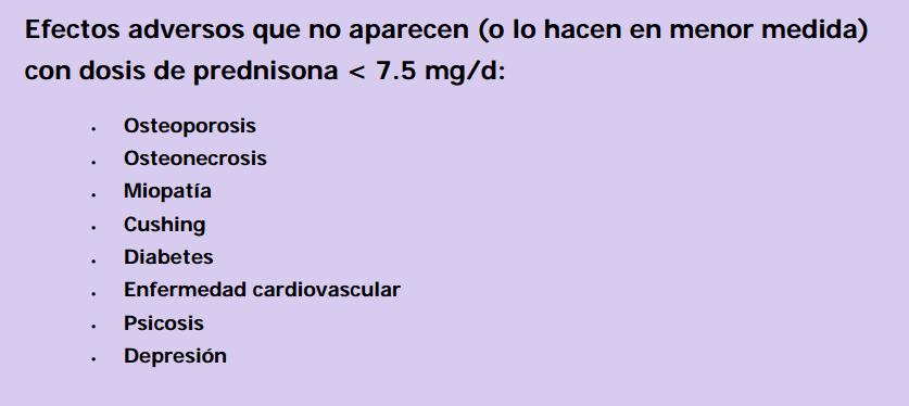 Corticoides efectos adversos que no aparecen por debajo de 7,5mg